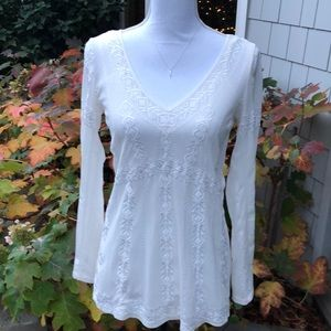 Embroidered Sheer Top with Bell Sleeves by WHBM